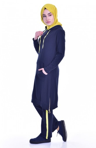 Hooded Tracksuit Suit 18054-05 Navy Yellow 18054-05