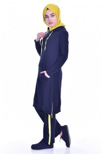 بدلة رياضية موصولة بقبعة 18054-05 لون كحلي واصفر 18054-05