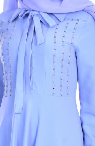 Robe Col Cravate 8115-03 Bleu Bébé 8115-03