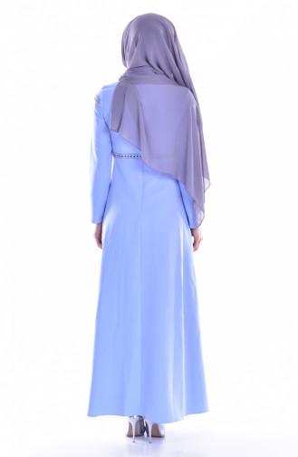 فستان بتصميم سادة وياقة برباط  8111-04