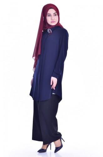 Navy Blue Overhemdblouse 1821859-01
