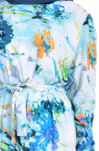 Robe Plissée a Motif 9012-01 Vert Menthe 9012-01