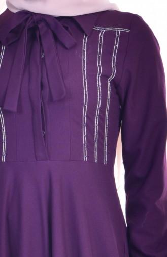 Robe Col Cravate 8115-05 Pourpre 8115-05
