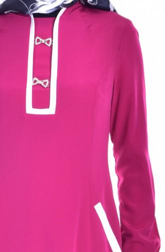 Broşlu Cep Detaylı Elbise 1613127-02 Fuşya