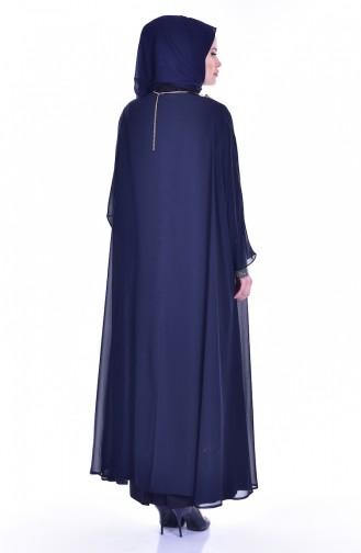 Patchwork Kleid mit Halskette 1613948-02 Grau Dunkelblau 1613948-02