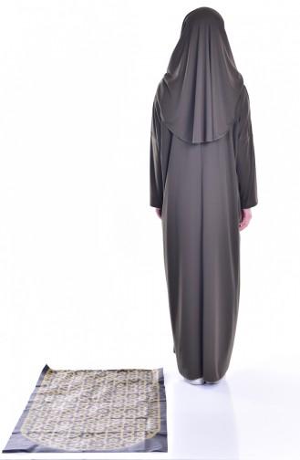 Sefamerve Praktisch Gebetskleid mit Gebetsteppich 8000-02 Khaki 8000-02