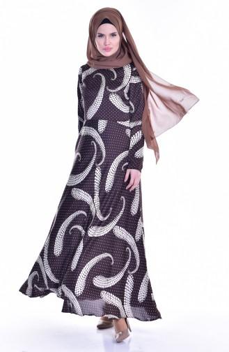 Robe a Motifs et Pointillé 1713372A-01 Brun Ecru 1713372A-01