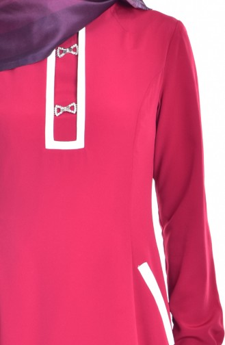 Robe avec Broche Détail Poches 1613127-03 Rouge 1613127-03