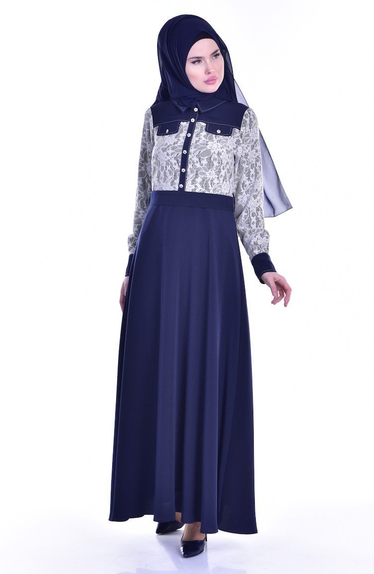 f3b5be6cec2 Lace Belted Dress 1613109-01 Navy Blue 1613109-01