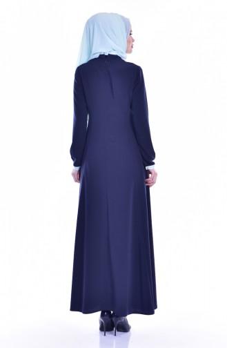 Robe avec Broche Détail Poches 1613127-01 Bleu Marine 1613127-01