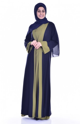 Elbise Ferace İkili Takım 6015-08 Lacivert Yağ Yeşili 6015-08