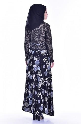 Dantelli Desenli Elbise 1613121A-01 Siyah Ekru 1613121A-01