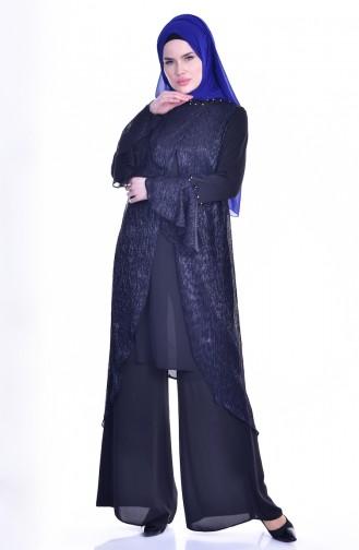 Taşlı Tunik Pantolon İkili Takım 1717891-01 Lacivert Siyah 1717891-01
