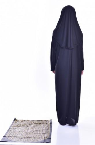 Sefamerve Praktisch Gebetskleid mit Gebetsteppich  8000-06 Schwarz 8000-06