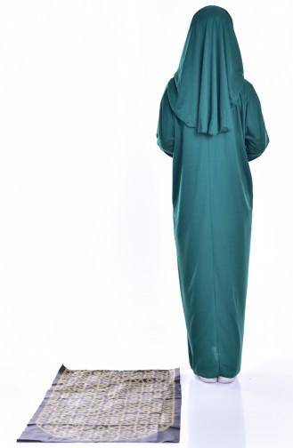 Sefamerve Seccadeli Pratik Namaz Elbisesi 8000-05 Zümrüt Yeşili
