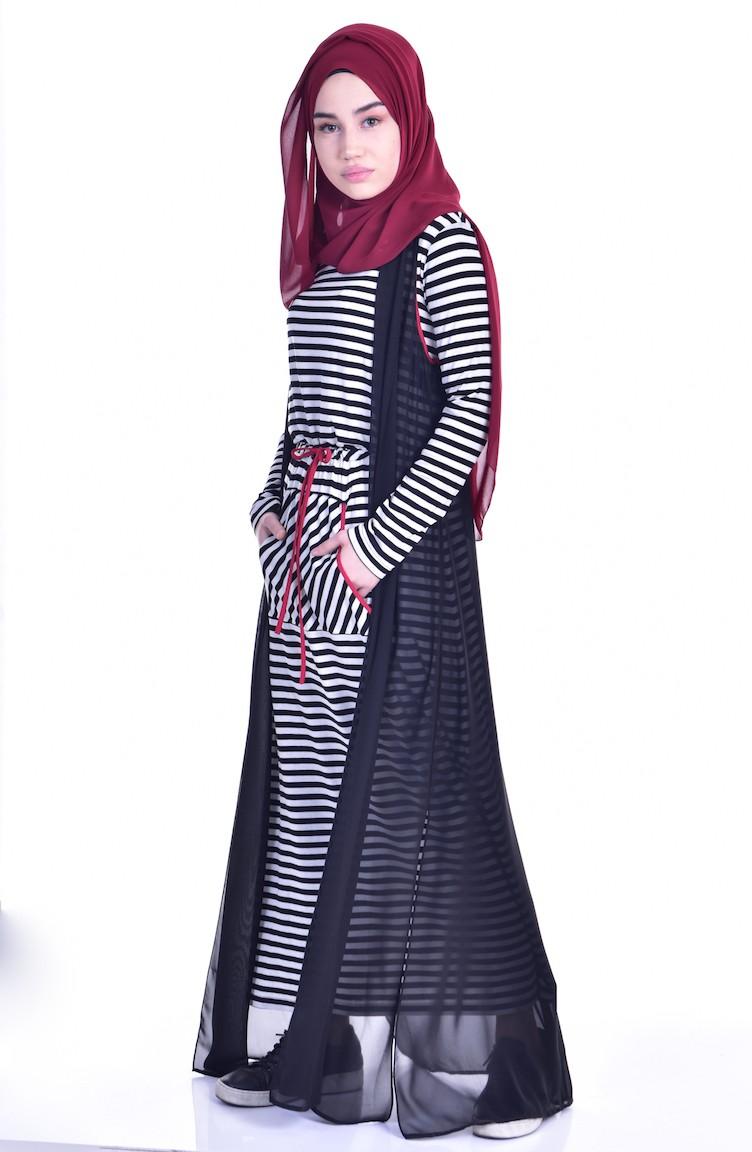 99cc80bdd681f طقم فستان وسترة بدون أكمام 1613120A-01 لون أبيض وأسود 1613120A-01