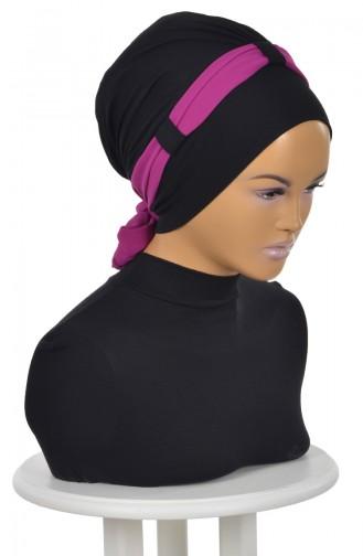 Bonnet Peignée avec Bande Mousseline-Noir-Fushia B0024-6-1 0024-6-1