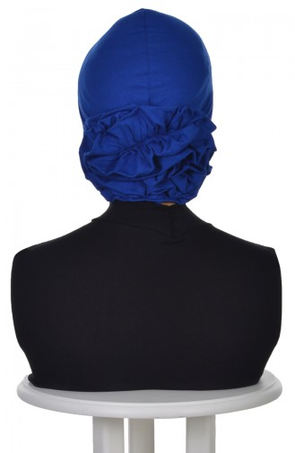 Bonnet Avec Rose -Bleu Roi B0021-4 0021-4