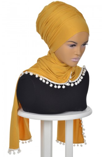 Pompon Accessory Combed Bonnet Shawl BT0002-11 Mustard 0002-11