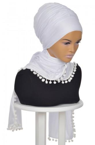 Gekämmtes Bonnet Schal mit Pompon Weiß  BT0002-12 0002-12
