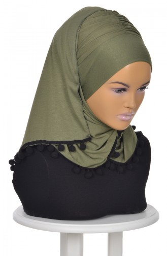 Pompon Accessory Combed Bonnet Shawl BT0002-13 Khaki Green 0002-13