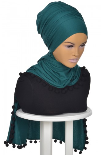 Pompon Accessory Combed Bonnet Shawl BT0002-14 Dark Green 0002-14
