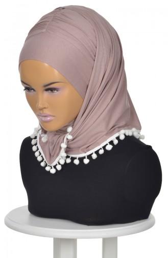 Gekämmtes Bonnet Schal mit Pompon Nerz BT0002-2 0002-2