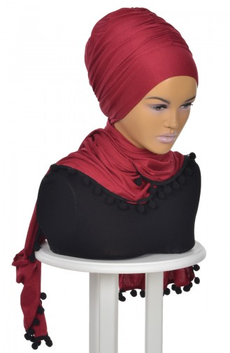 Gekämmtes Bonnet Schal mit Pompon Weinrot BT0002-3 0002-3