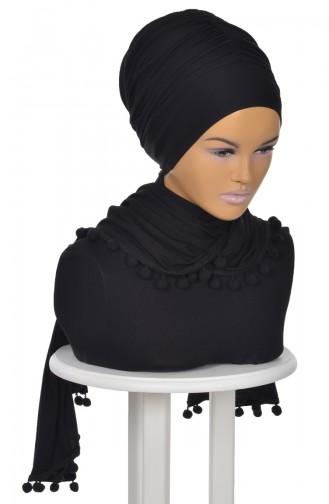 Châle Bonnet Accessoire Pompom Noir BT0002-6 0002-6