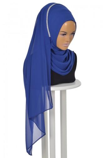 Châle Pratique Sans Aiguille  en Mousseline Bleu Roi PS0022-16 0022-16