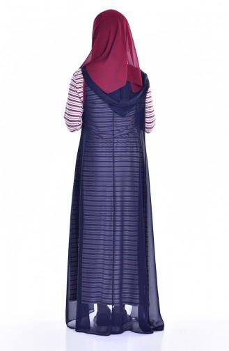 طقم فستان وسترة بدون أكمام  1613120-01لون كحلي وأحمر 1613120-01