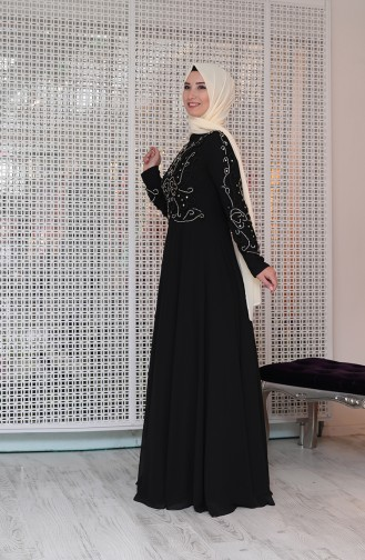 Black Islamic Clothing Evening Dress 0121-02