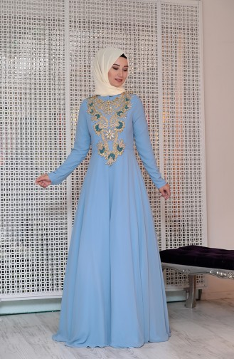 Boncuk İşlemeli Dantelli Abiye Elbise 0128-01 Bebe Mavi