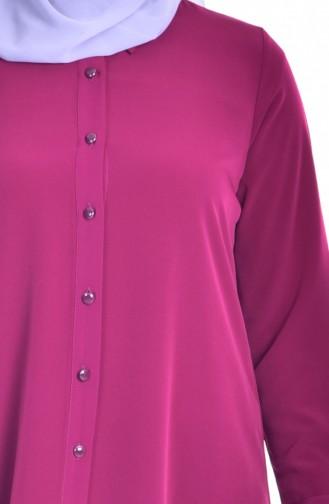 Gömlek Yaka Düğmeli Tunik 1008-04 Fuşya