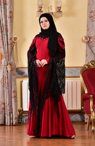 Red Islamic Clothing Evening Dress 1713197-05