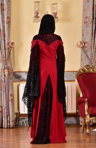 Robe de Soirée avec Pierre 1713197-05 Rouge 1713197-05