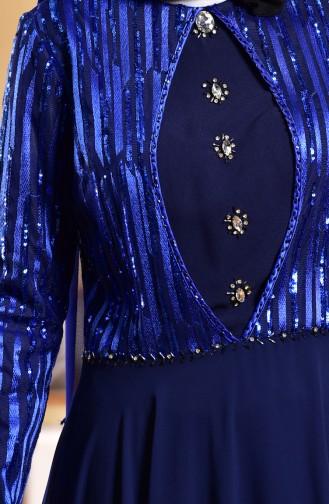 Navy Blue Islamic Clothing Evening Dress 1713173-03
