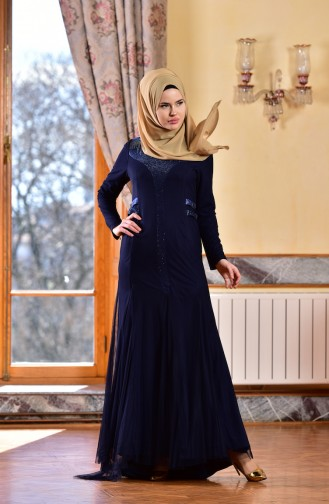 Navy Blue Islamic Clothing Evening Dress 1613953-04