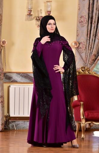 Purple Islamic Clothing Evening Dress 1713197-03