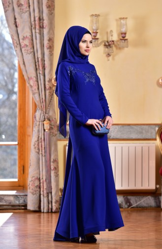Saxon blue Islamic Clothing Evening Dress 1713182-02