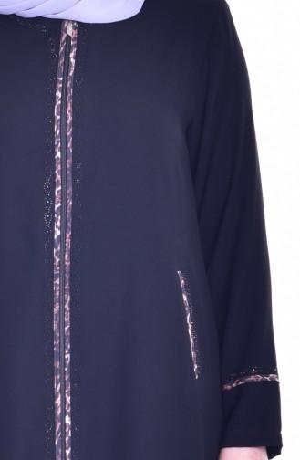 Abaya a Fermeture et Pierre 0182-01 Noir 0182-01
