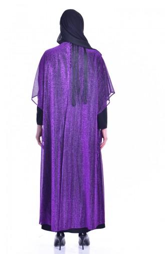 Püsküllü Simli Abiye Elbise 1713317-01 Mor Siyah 1713317-01