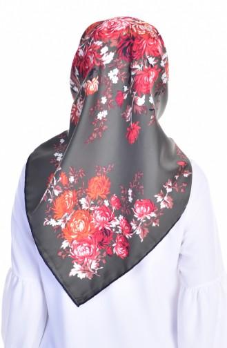 Echarpe Twill a Motif Fleurs 50116-26 Noir Khaki 26