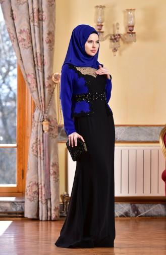 Robe de Soirée a Dentelle et Perles 1713223-01 Bleu Roi Noir 1713223-01