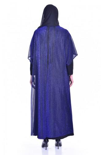 Püsküllü Simli Abiye Elbise 1713317-03 Saks Siyah 1713317-03