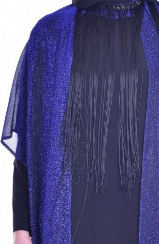 Robe de Soirée a Paillette et Franges 1713317-03 Bleu Roi Noir 1713317-03