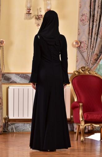 Robe de Soirée Bordée 1713328-01 Noir 1713328-01