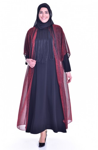 Robe de Soirée a Paillette et Franges 1713317-02 Orange Noir 1713317-02