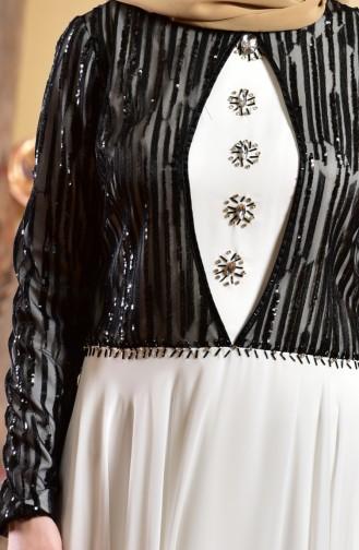 White Islamic Clothing Evening Dress 1713173-02