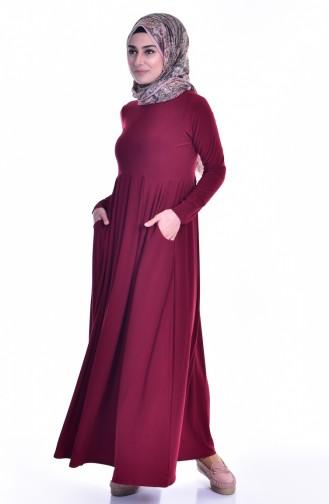 Robe avec Poches 18131-06 Bordeaux 18131-06